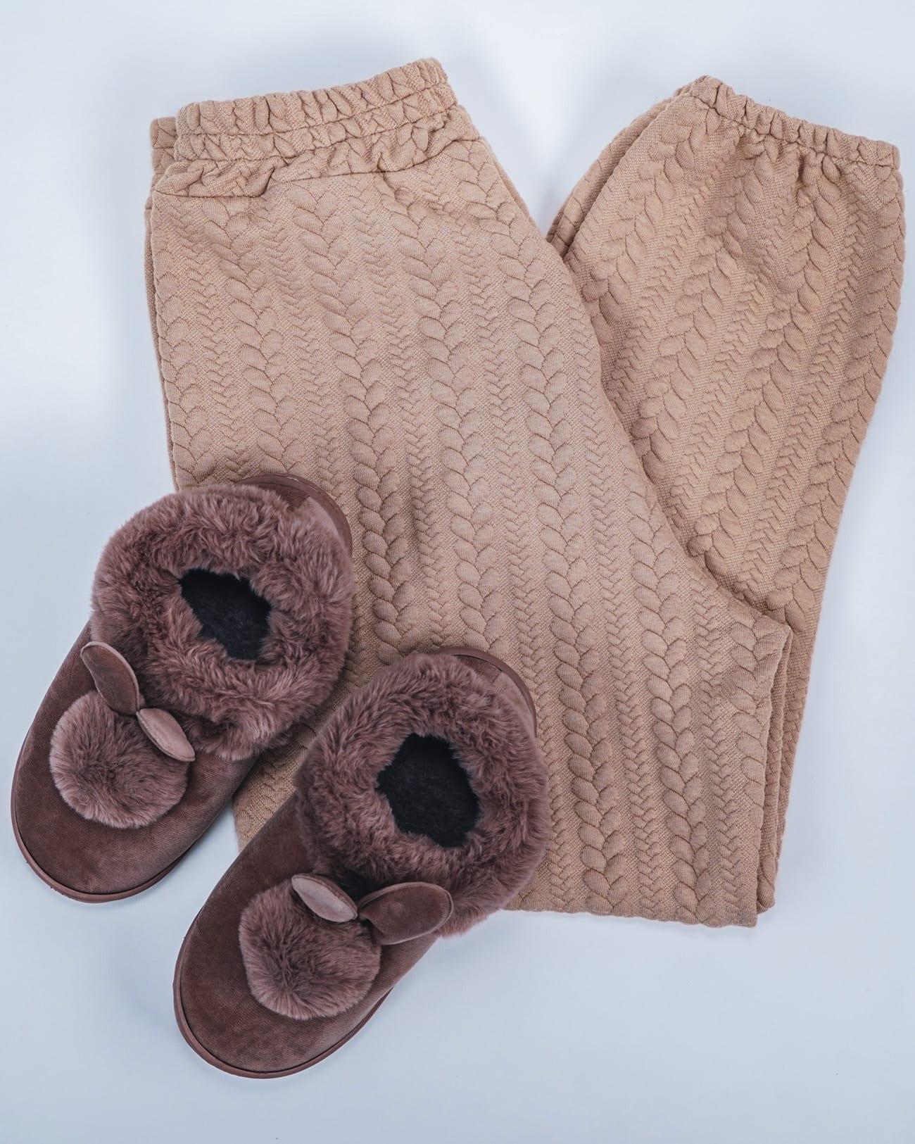 chaussons femme fourrés polaire marron
