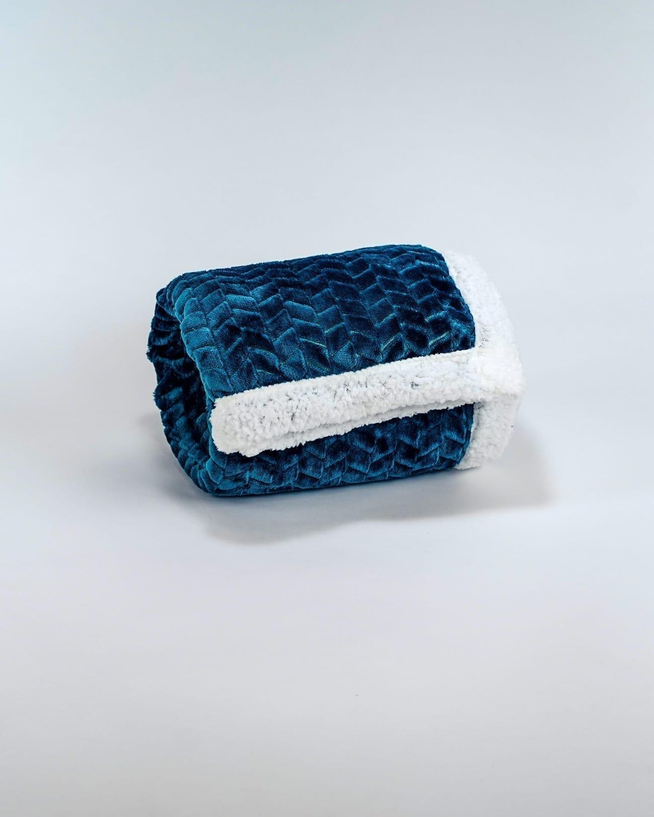 plaid polaire chevron bleu canard