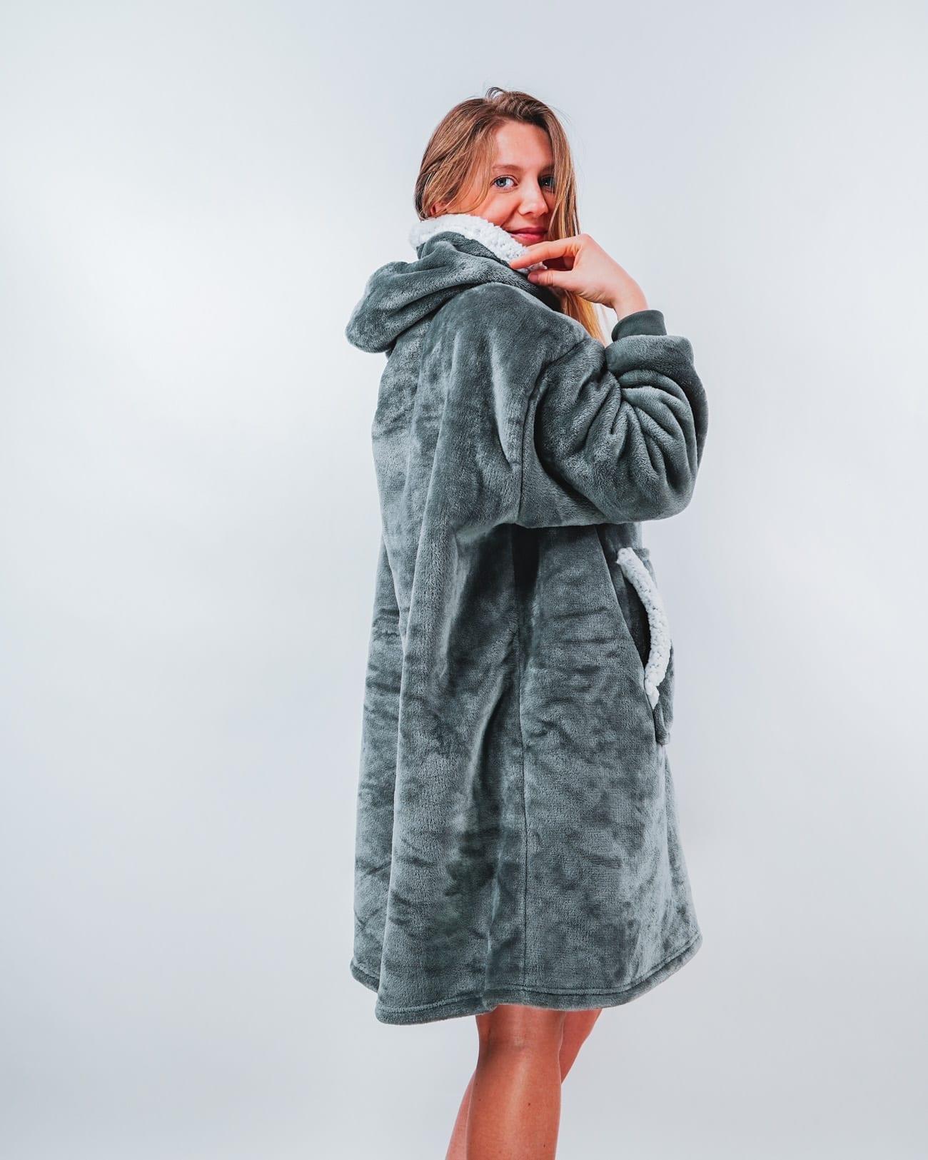 pull plaid femme gris