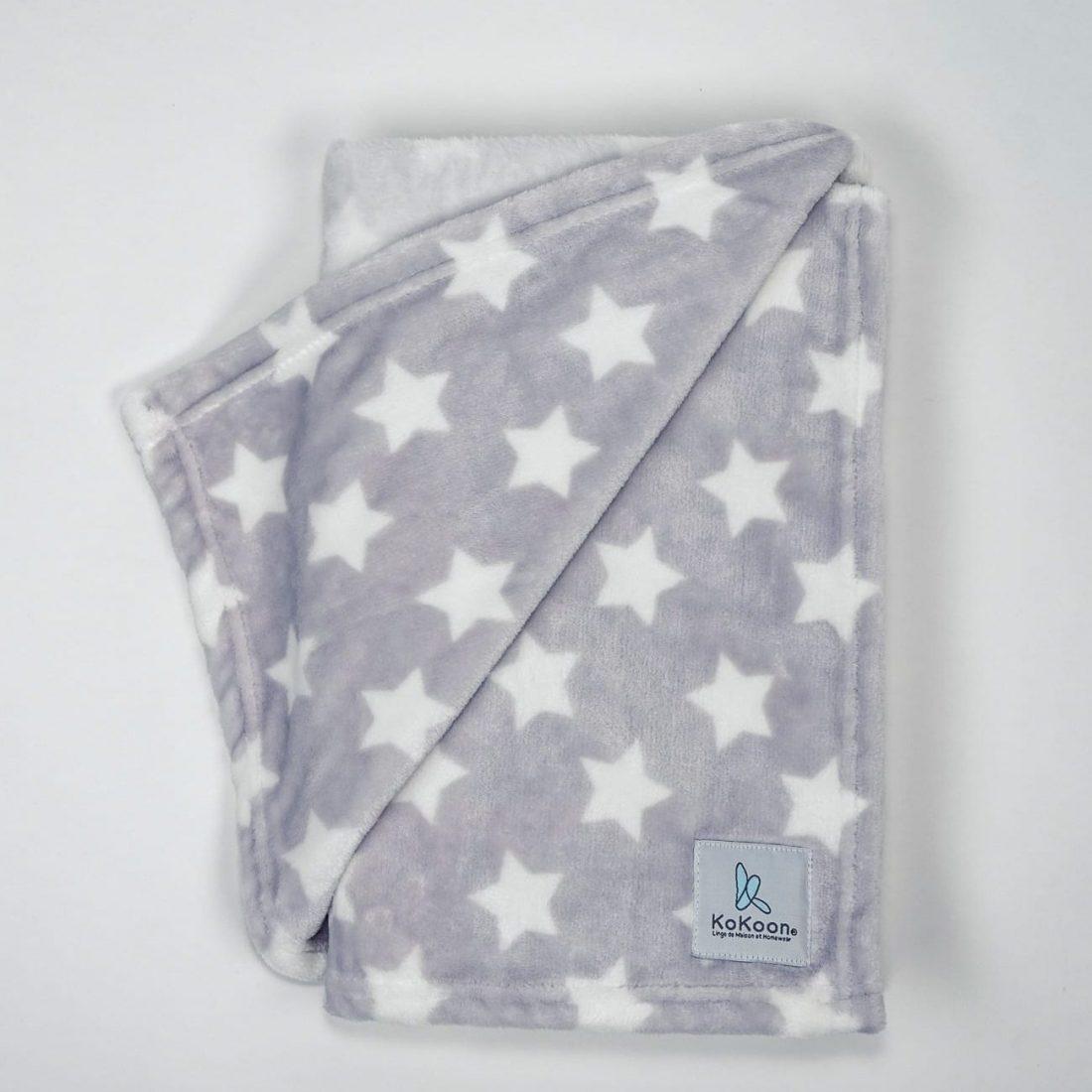 plaid bébé gris motifs etoiles