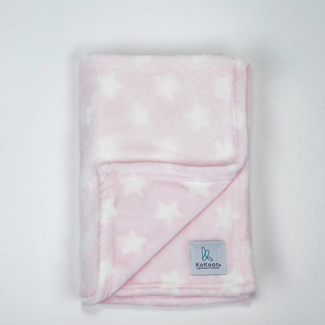 plaid bébé rose motif étoile